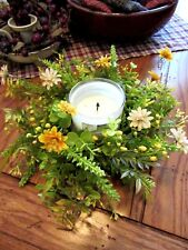 EUCALYPTUS CANDLE RING~DAISY FLOWERS~SPRING GREEN CANDLE RING~FLORAL CANDLE RING