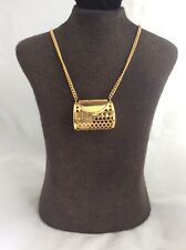 Gold Tone Necklace & Purse Shaped Pendant With Watch