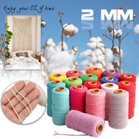100m Long/100Yard Pure Cotton Twisted Cord Rope Crafts Macrame Artisan String AU