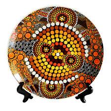 Australia Display Plate Stand Aboriginal Dot Art Colours of The Land Souvenir