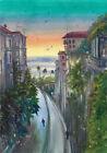 original painting A3 586ShA art by samovar modern Watercolor cityscape sunset