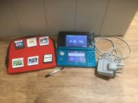 nintendo 3ds aqua blue With 6 Games Mario Luigi Zelda And More