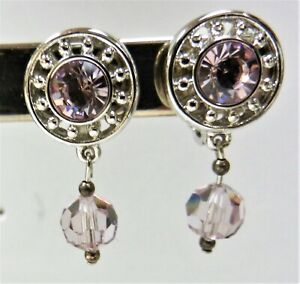 Signed Swarovski Earrings Light Amethyst Dangle Rhodium Plated Clip On