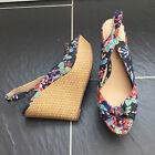 DOROTHY PERKINS LADIES MULTI COLOURED FLORAL PEEP TOE WEDGE SANDALS SIZE 6