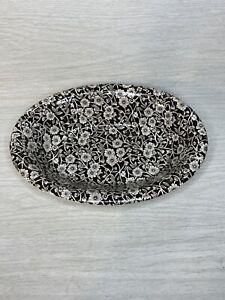 "Staffordshire Calico Burleigh Black Oval Bowl Dish 9"" Rare!"