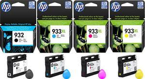4 HP 932 BLACK + HP 933XL CYAN MAGENTA YELLOW 6100 6600 6700 7110 7510 7610 7612