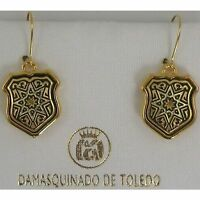 Damascene Gold Shield Star Design Drop Earrings by Midas of Toledo Spain