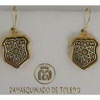 Damascene Gold Shield Star Design Drop Earrings by Midas of Toledo Spain