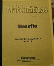 Harcourt Math 4th 4 Matematicas desafio Workbook Homeschool Spanish Espanol