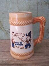 Vintage Porcelain Children's Stein MEMBER OF THE PISTOL CLUB-DRINK TILL MIDNIGHT