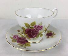 Vintage Royal Ascot Bone China Tea Cup & Saucer Pink Roses Scalloped Edge w Gold
