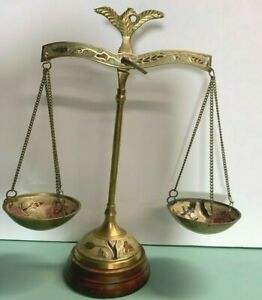 Rare Scales of Justice Vintage Eagle Antique Lawyer Scale Brass, Enamel, Wood