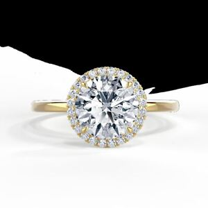 Dainty 2CT Round Cut Diamond Halo Style Wedding Promise Ring 14K Yellow Gold FN