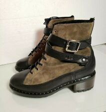 UGG Collection Sassari Suede Leather  Combat steampunk  Boots green forest Sz 7