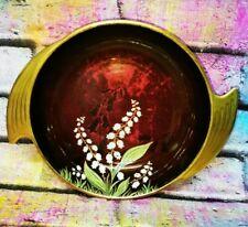 More details for vintage carlton ware rouge royale hand painted butterflies dish bowl art deco