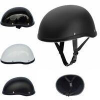 Dot Matte Black Motorcycle Half Helmet Skull Cap Hat For Scooter Chopper