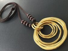 Long BROWN suede necklace with large statement GOLD Circles Pendant