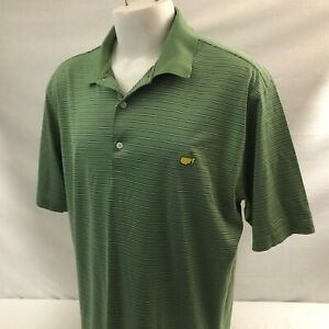 The Masters Augusta Men's Golf Polo Shirt XL Green Striped 100% Pima Cotton