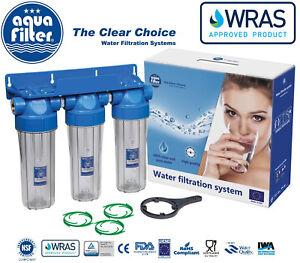 """Aquafilter 10"""" Triple Water Filter Housing 3/4"""" + Bacinix Ring / Biodiesel"""