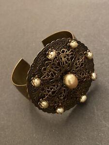 Jan Michaels Studio San  Francisco Brass Cuff Bracelet With Natural Pearls