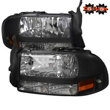 97-04 Dodge Dakota 98-03 Durango 1pc Headlights Crystal Black Housing Sport