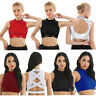 Women Mock Neck Dazzling Glittery Crop Tank Top Yoga Sport Gym Criss Cross Vest
