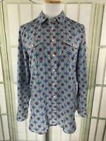 Talbots Size Medium Blouse Silky Career Button Front Top Long Sleeves Geometric