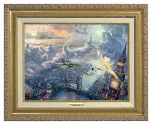 "Thomas Kinkade Disney Tinker Bell and Peter Pan 28"" x 42"" R/E 1 of 8"