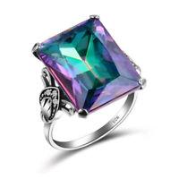 Super Huge Rectangle Rainbow Mystic Fire Topaz Gemstone Silver Ring Size 6-10