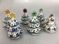 "Unikat Polish Pottery 1 Mini Christmas Tree 3 - 3 1/2"" Boleslawiec Poland"