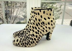 Joop! Womens Ivory and Brown Spotted Velvet Ankle Boots Size 41/10.5