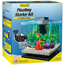 Clear Plastic 1.5-Gal Cube Aquarium Starter Kit Air-Powered 3-Stage Filtration
