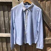 SET Blue Cotton Floral Embroidered Shirt Size 14 BNWOT Summer / Boho