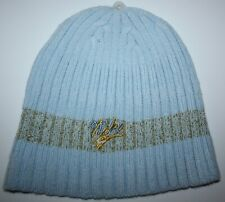 low priced d2527 372bb NIKE WOMEN S OSFM BLUE   GOLD CUFFLESS ACRYLIC KNIT BEANIE SKI HAT CAP ...