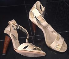 Dolce & Gabbana Sandals, Size 37 US 7,  Womens Shoes, D&G, Beige, Snake Skin