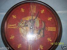 """Elephant Clock with Metal Frame Glass Front 14""""   Fleur de Lis & Roman Numerals"""