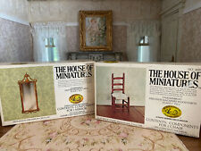 Vintage Dollhouse House of Miniatures MA Slat Back Chair & Wall Mirror DIY Kits