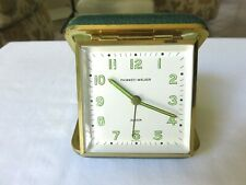 Vintage Phinney-Walker Travel Alarm Clock Radium Face Green Leather Case