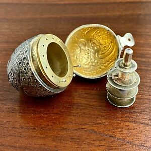 RARE GORHAM STERLING SILVER VICTORIAN FIGURAL EGG CHATELAINE SEWING KIT 1886