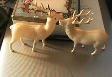 Vintage Plastic Reindeer Figures Set of 2 Christmas Ornament