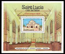 "ST. LUCIA 871 - Christmas ""St. Lucy Catholic Church"" Souvenir Sheet (pa83674)"