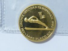 1980 2000 zt Lake Placid Olympic Gold Coin     .2822 ounce