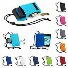 Mobile Smart Phone Case Money Belt Neck Strap Zip Card Holder Pouch Wallet