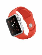 NEW Apple Watch 38mm Silver Aluminum Case with Orange Sport Band Series 1