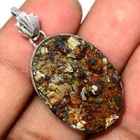 Pyrite in Slate, Germany 925 Sterling Silver Pendant Jewelry AP94958