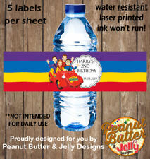 Personalised Wiggles Kids Birthday Water Bottle Sticker Labels - 5 per Page