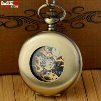 Mechanical Watch Skeleton Steampunk Bronze Windup Mens Pocket Watch Chain Gift