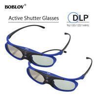 2Pcs 3D Active Shutter Glasses DLP-Link Rechargeable Blue For Optoma BenQ Acer