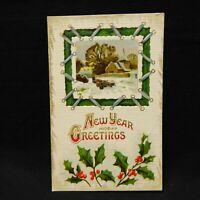 POSTCARD EMBOSSED NEW YEAR GREETINGS, WINTER SCENE POSTMARKED 1912