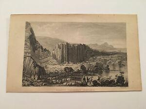 K120) Giant's Causeway Bushmills Northern Ireland Landscape 1867 Engraving